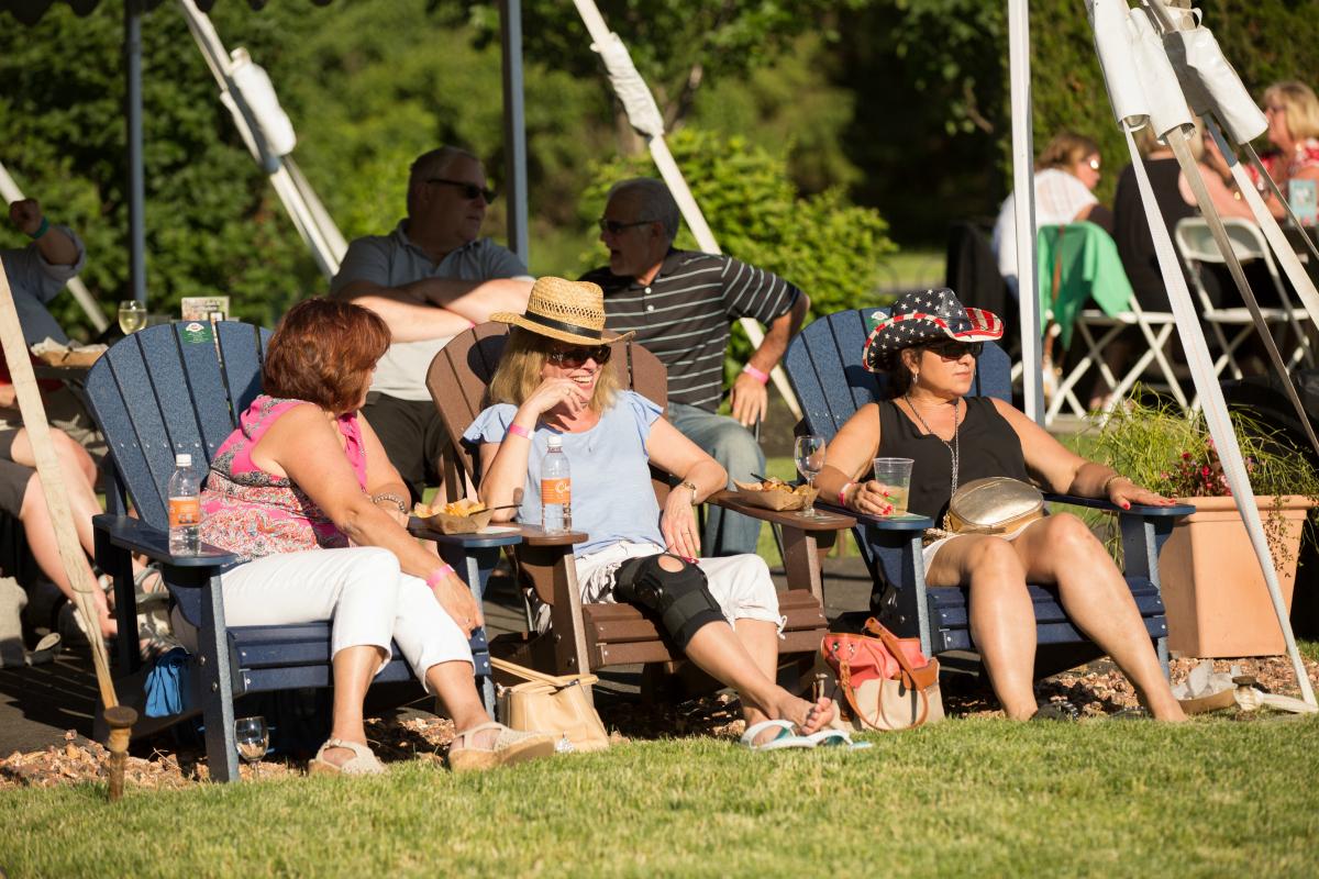 Customers enjoying wine, Patio Parties at Casa Larga Vineyards
