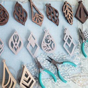 Wood-cut earrings, Layered Crafts, Holiday Craft Marketplace at Casa Larga Vineyards