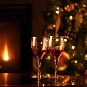 Red Wine at Christmas Time by the Fire
