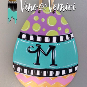 Monogram Easter Egg Wooden Sign