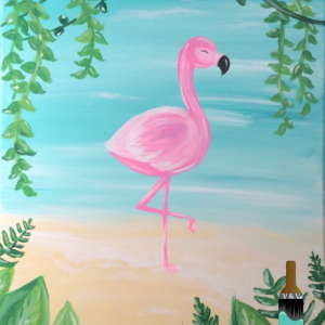 Flamingo Canvas for Sip and Paint Series at Casa Larga Vineyards