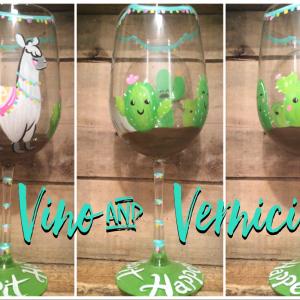 Cinco de Mayo Llama Glasses for Sip and Paint Series at Casa Larga Vineyards