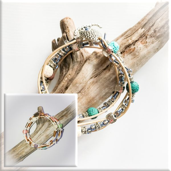 Leather Lava Wrap Bracelet for Sip and Bead Series at Casa Larga Vineyards