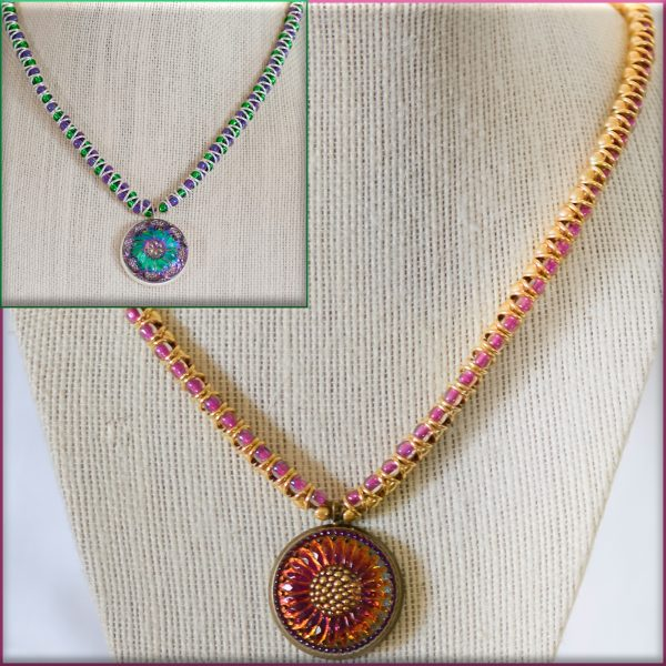 Necklace with Czech Glass Button