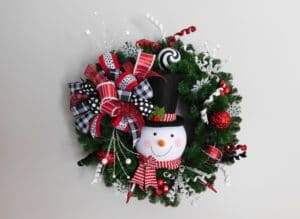 Paperwhite Custom Floral Green Snowman Wreath Holiday Craft Marketplace