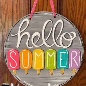 Hello Summer Round Sign