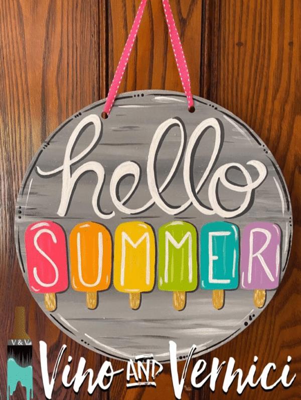 Hello Summer Round Sign