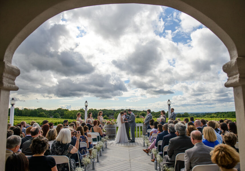 Wedding ceremony on the patio, Wedding Ceremonies and Receptions at Casa Larga Vineyards