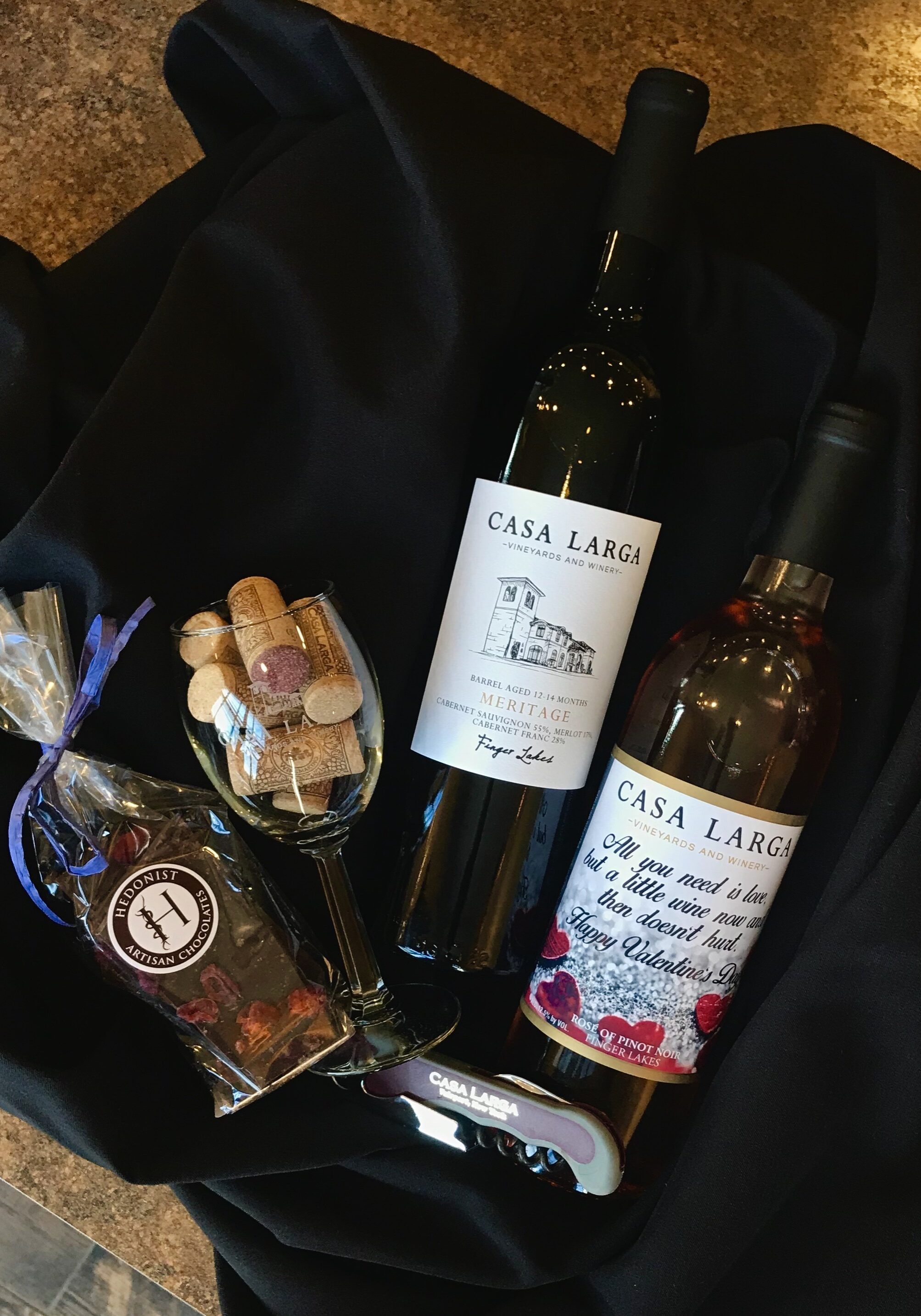 Valentine's Day Basket, Varying Wines and Chocolates, at Casa Larga Vineyards